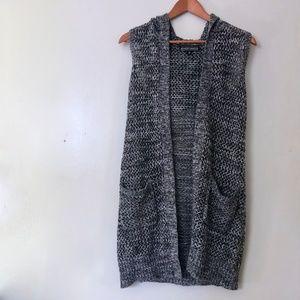 Loose Knit Gray Summer Vest - Hooded
